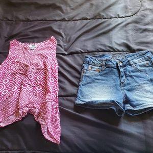 girls size 12 JUSTICE denim shorts & pink top